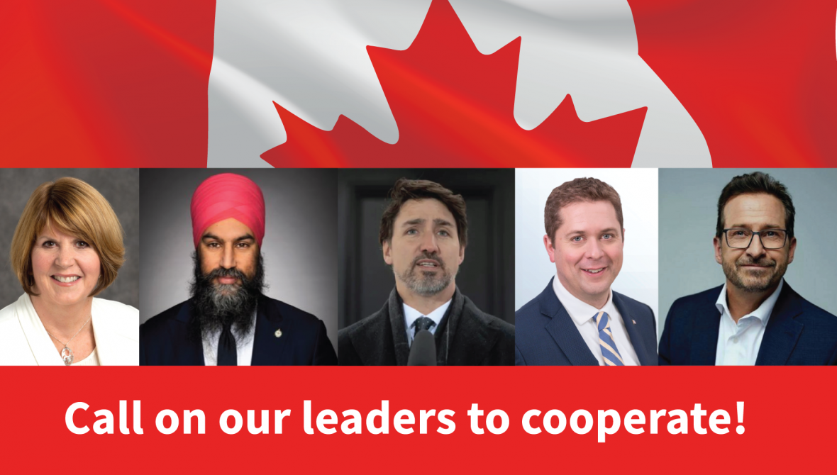 Five Party Leaders Under a Canadian Flag